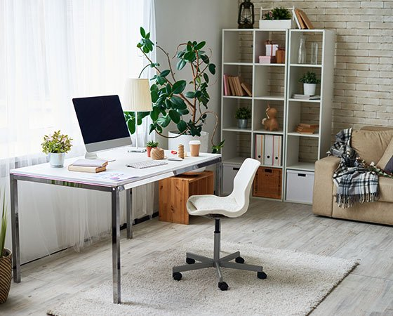Cozy, modern home office with white walls and carpet, white desk and chair, white furniture, green plants, and light gray carpet.